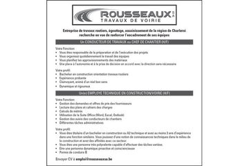 Rousseaux sa: un conducteur de travaux ou chef de chantier & un(e) employe technique en construction/voirie